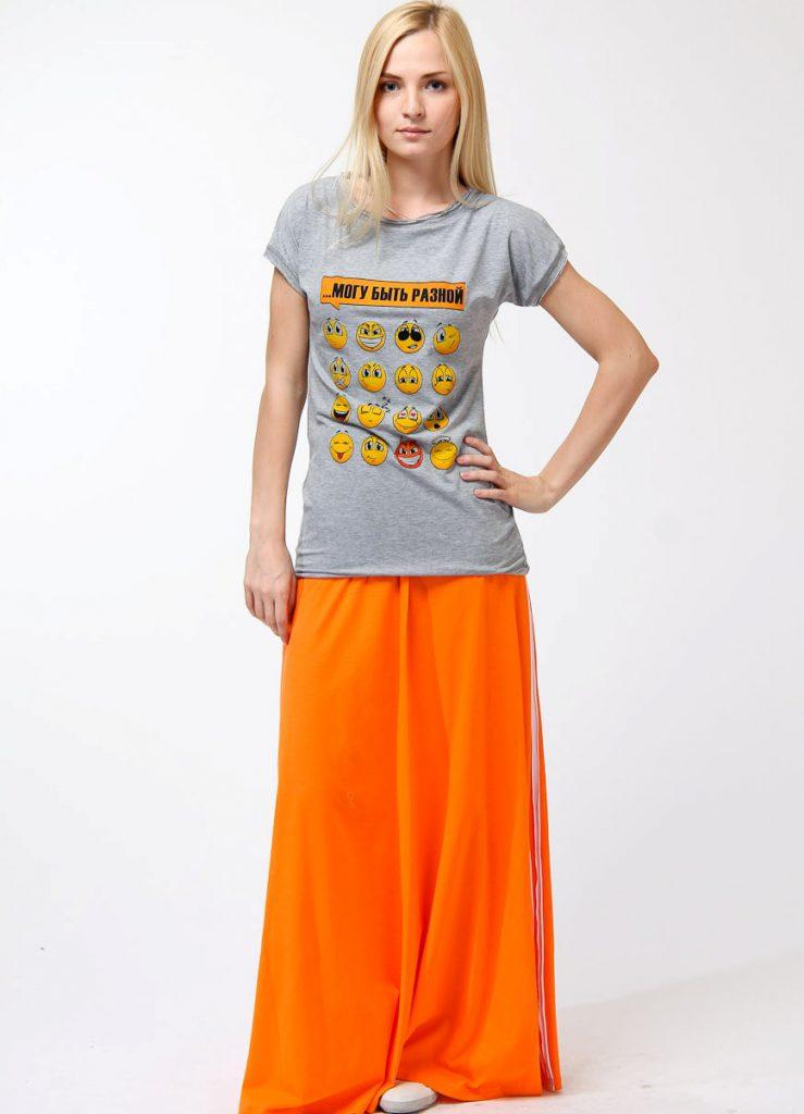 Оранжевая юбка в пол