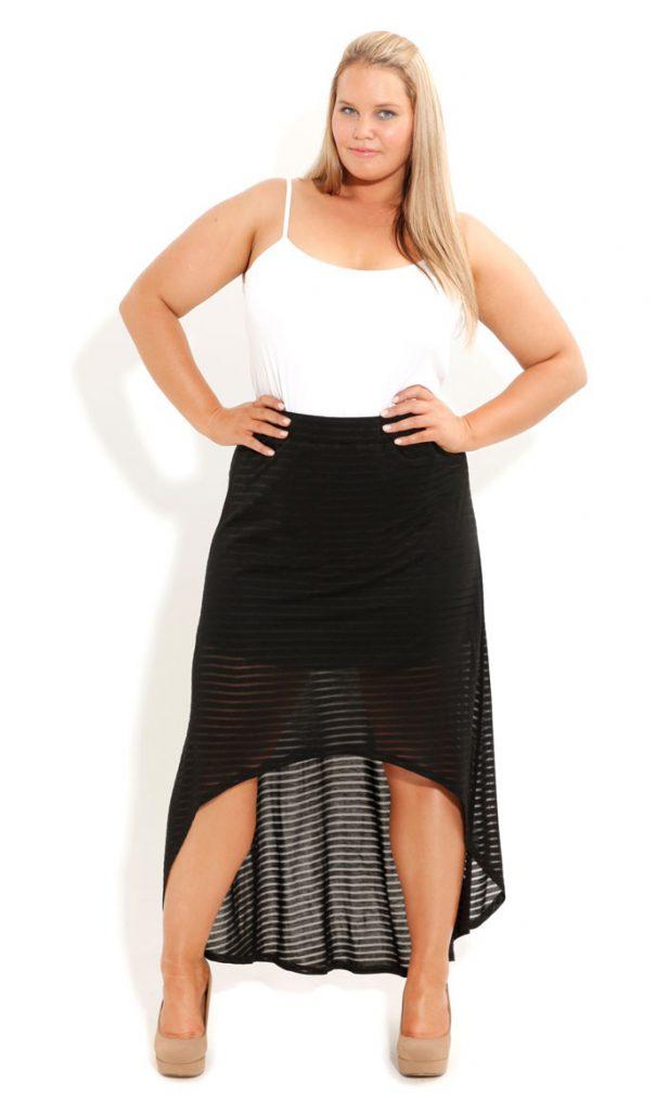 Черная юбка в пол для полной девушки
