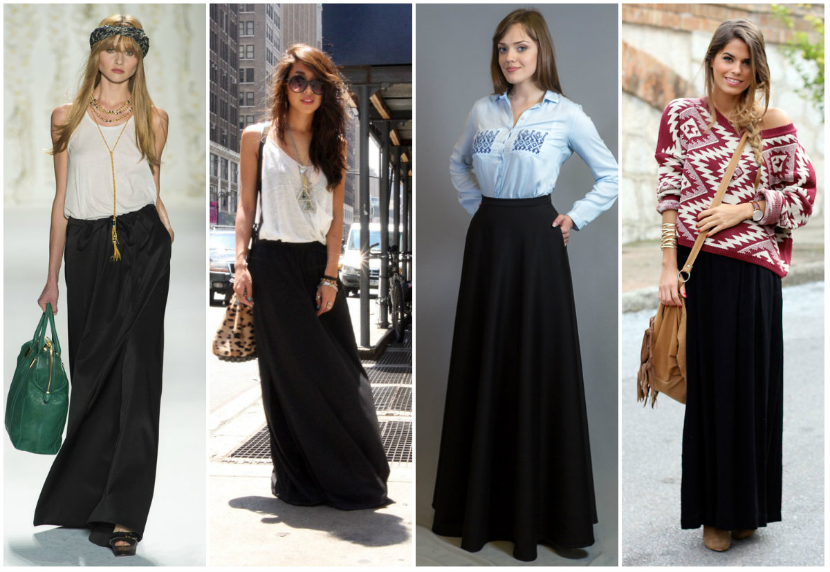 Длинная летняя черная юбка
