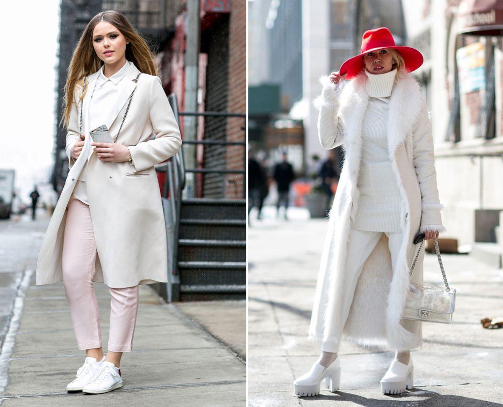 Сочетания белого пальто с розовым и красным цветами в одежде