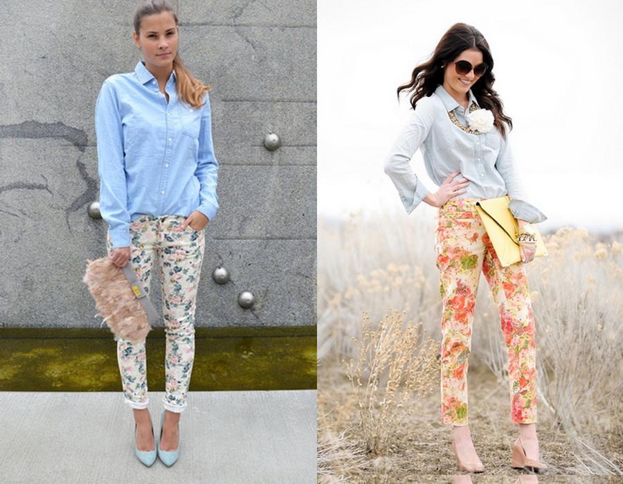 Цветочные брюки с рубашками