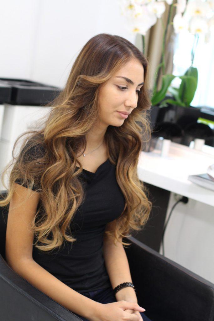 Темно-русые волосы с осветленными кончиками