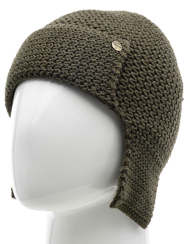 Вязаная оливковая шапка ушанка мужская