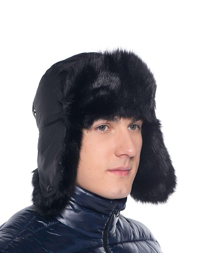 Мужская черная шапка ушанка
