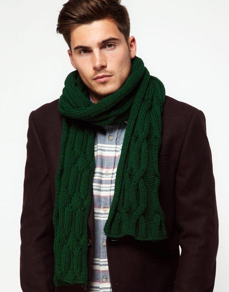 Зеленый мужской шарф