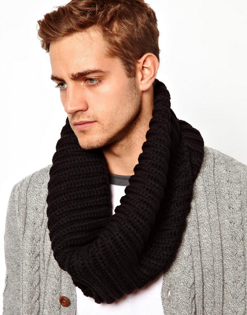 Черный мужской шарф снуд
