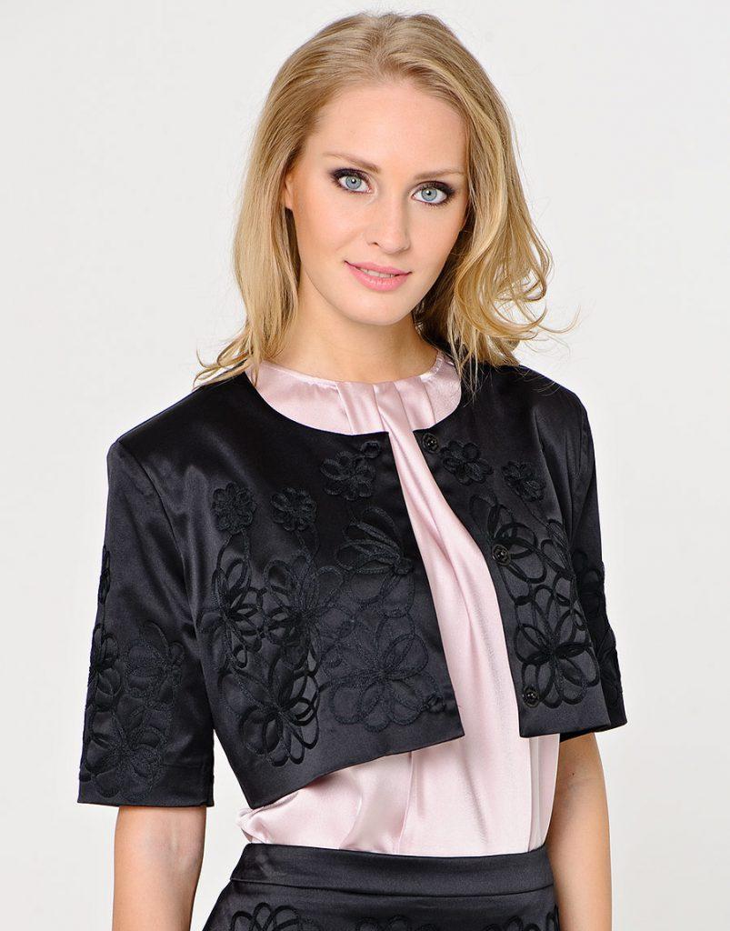 Атласное черное болеро с рукавами и вышивкой