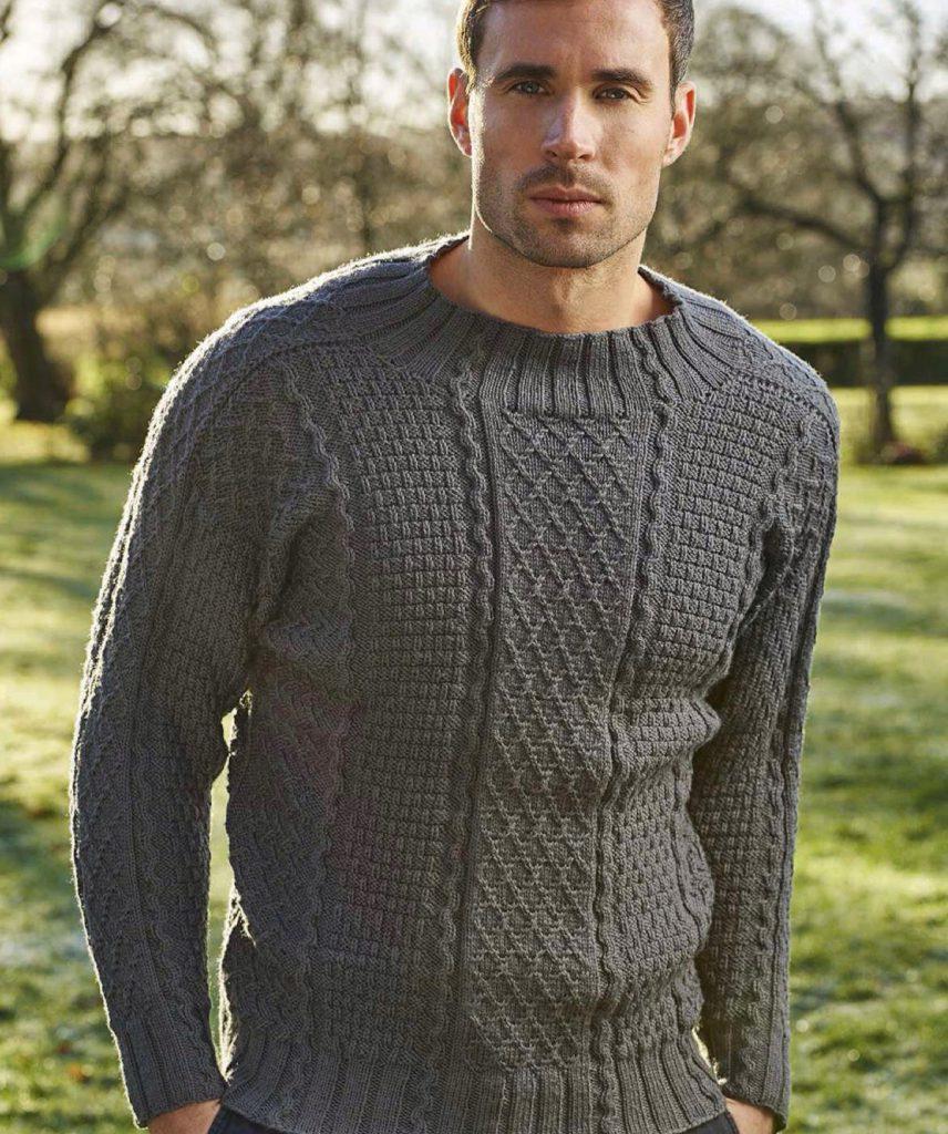 Шерстяной серый мужской пуловер