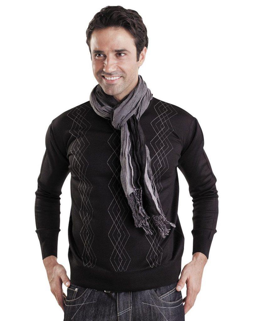 Хлопковый мужской пуловер