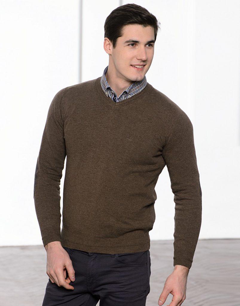 Коричневый синтетический мужской пуловер