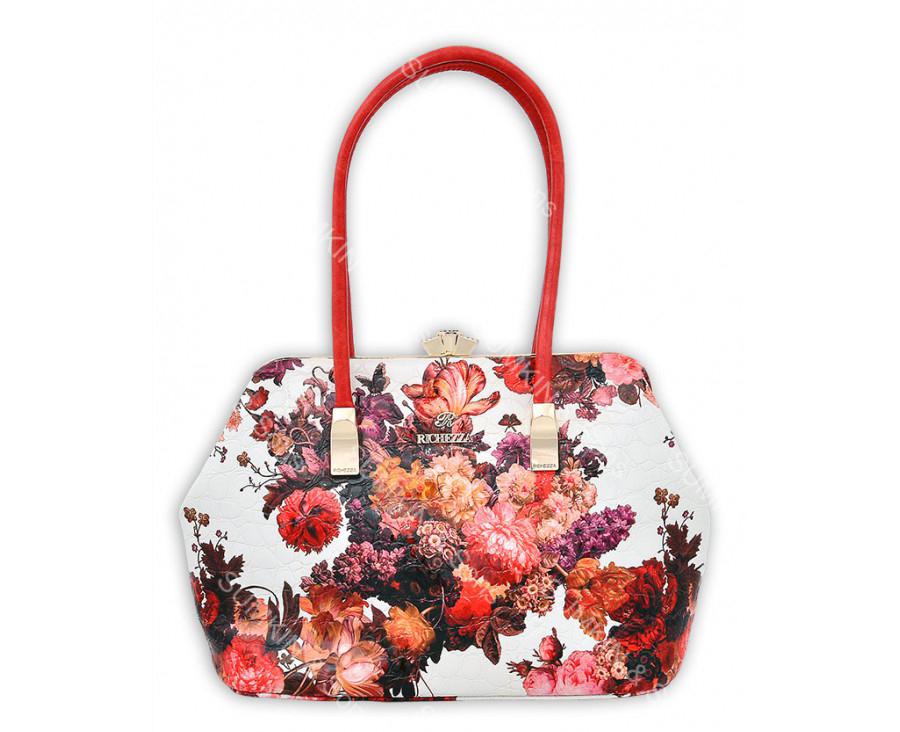 Бело-красная сумка с цветочным принтом