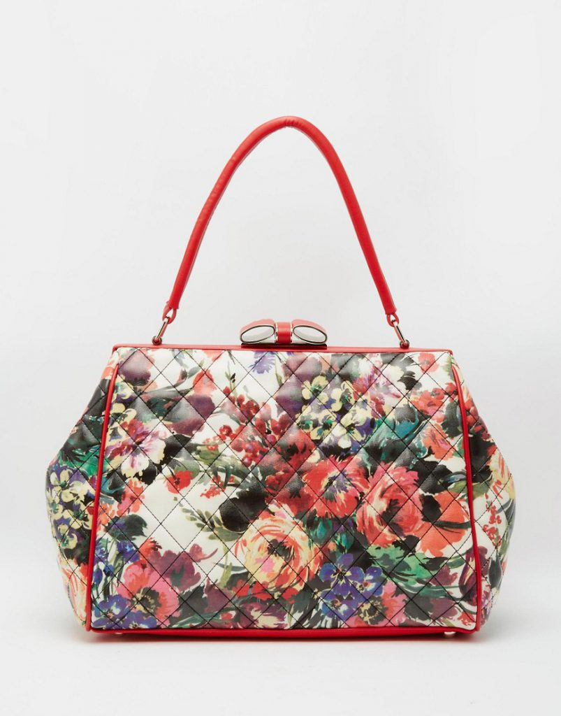 Кожаная сумка с цветочным принтом