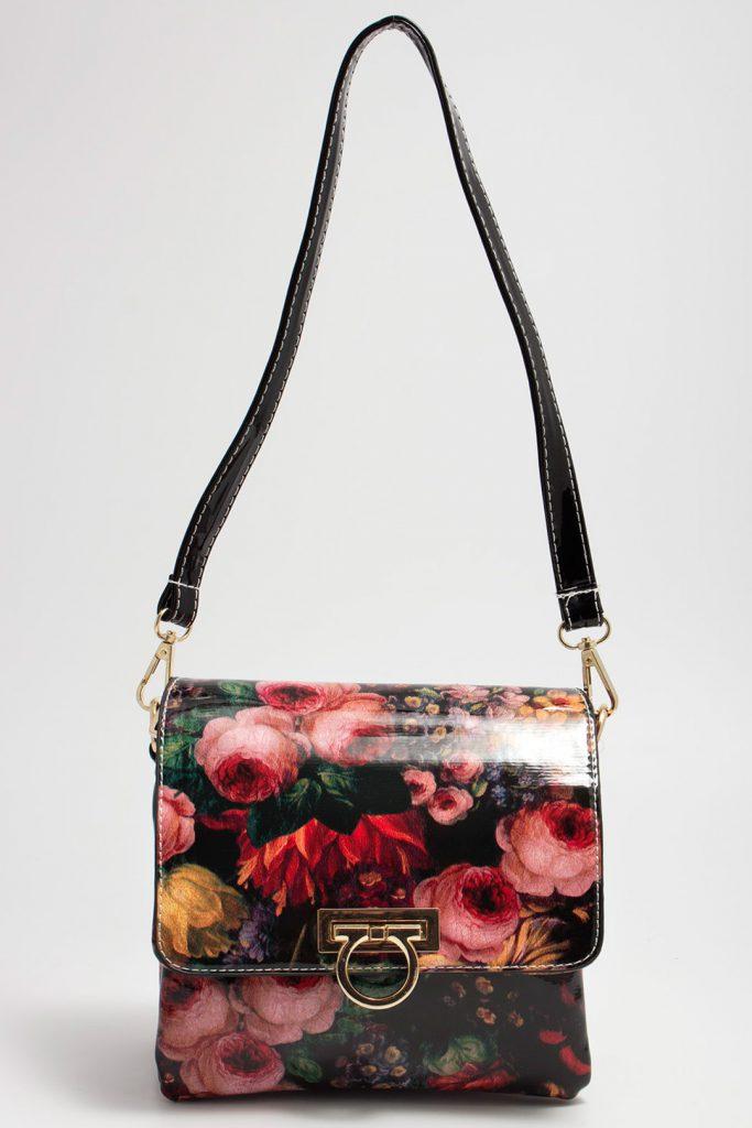 Черная маленькая сумка с цветочным принтом
