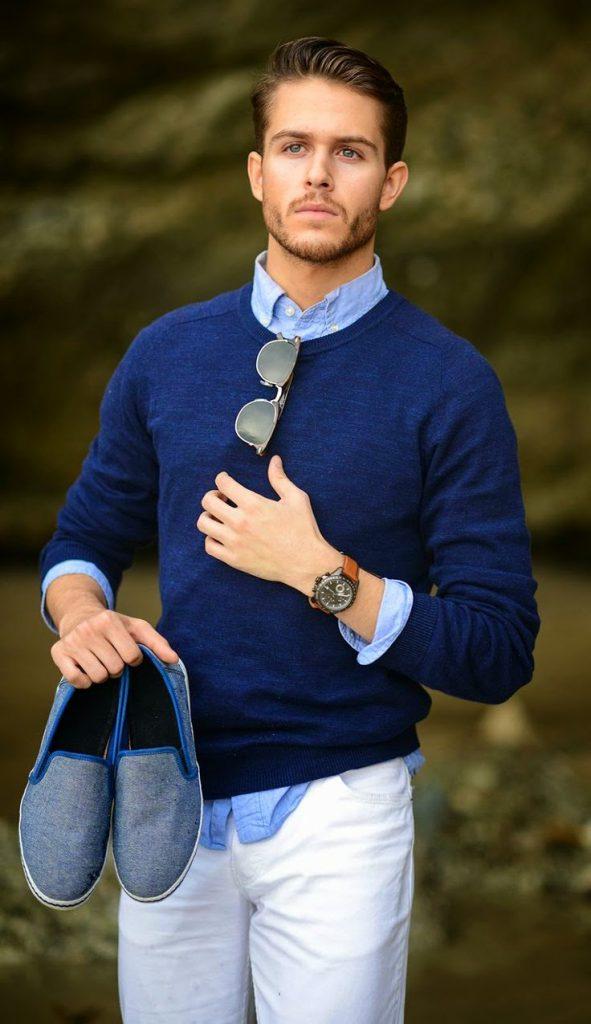 Сочетание синего и белого цветов в мужской одежде