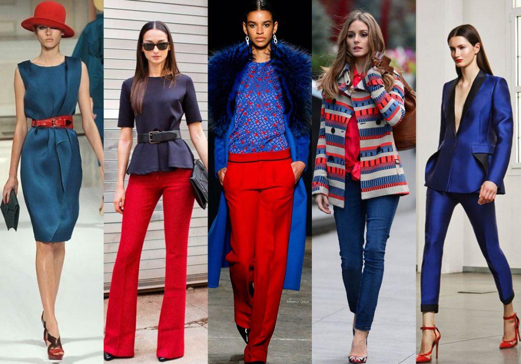Сочетание синего и красного в одежде