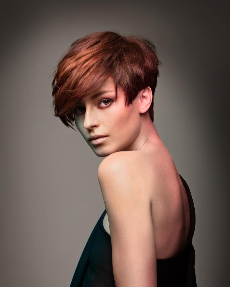 Короткая стрижка на тонкие рыжие волосы