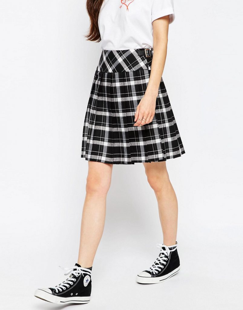 Черно-белая юбка в клетку тартан