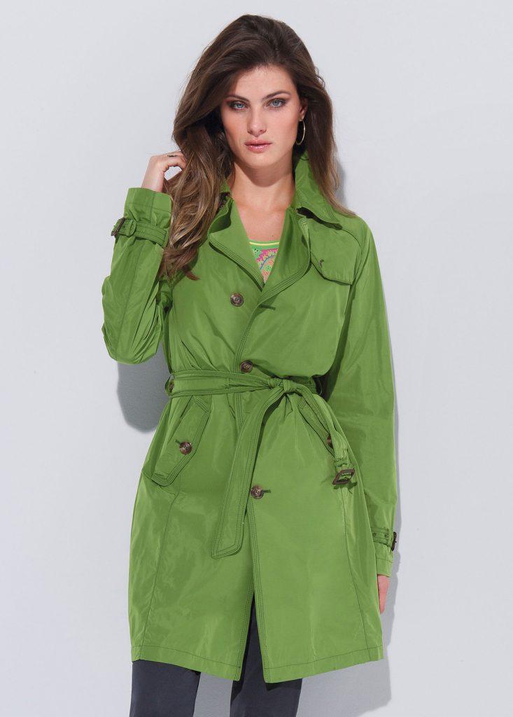 Демисезонное зеленое пальто