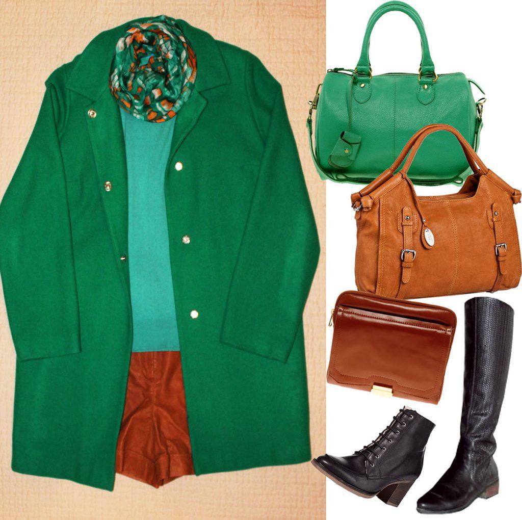 Комбинирование зеленого пальто с другими вещами