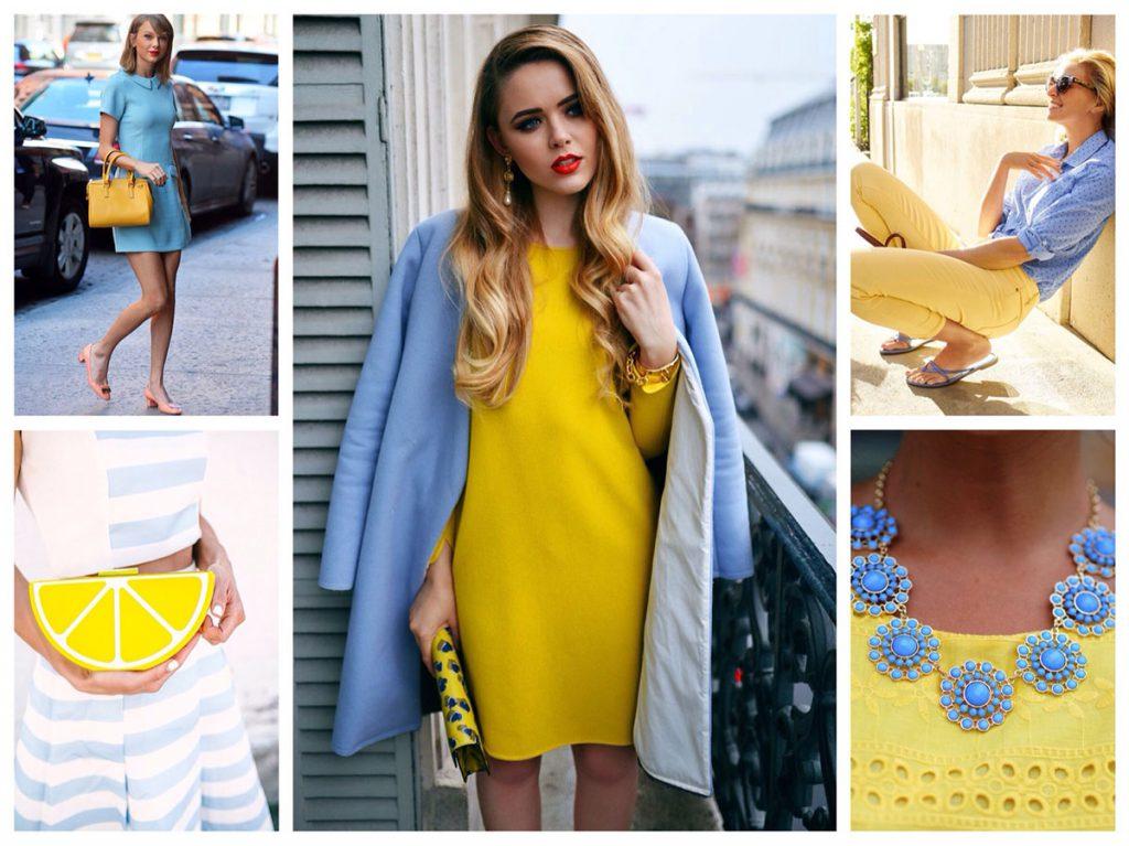 Желтый с голубым в одежде