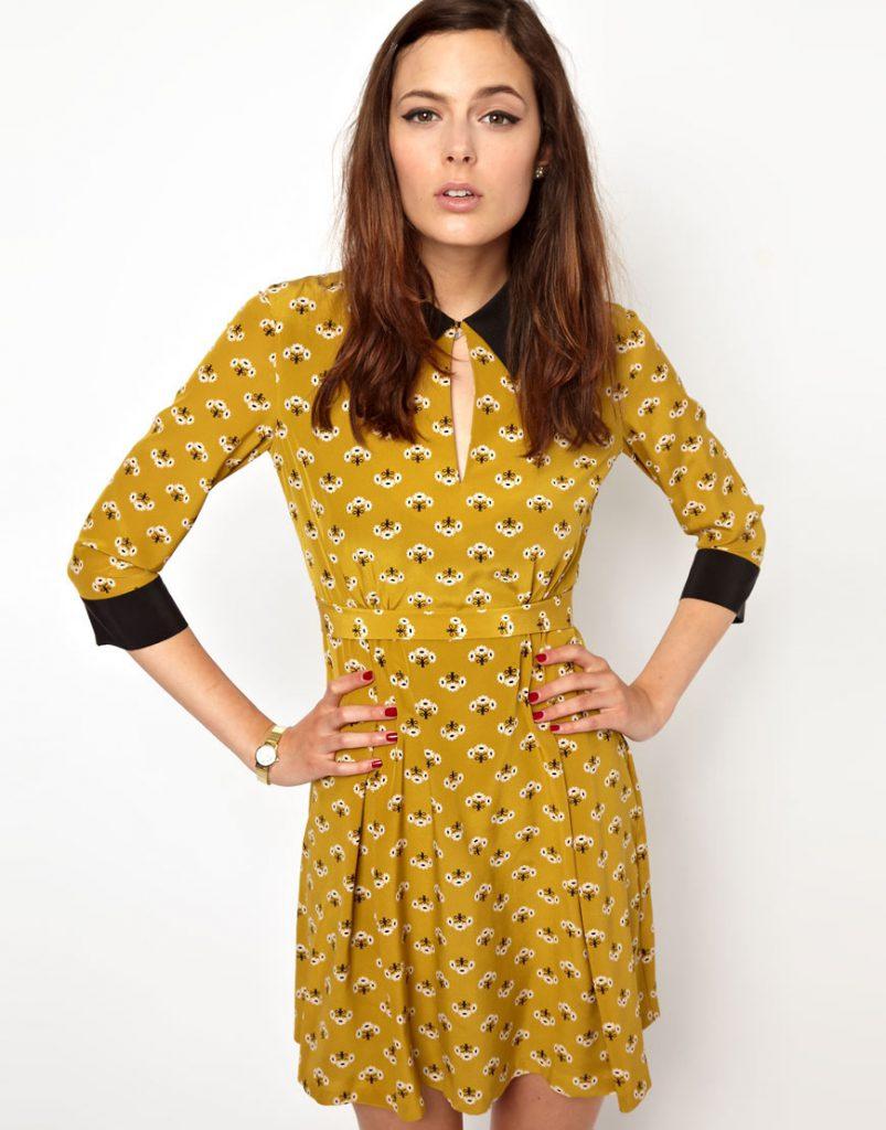 Желто-черное платье