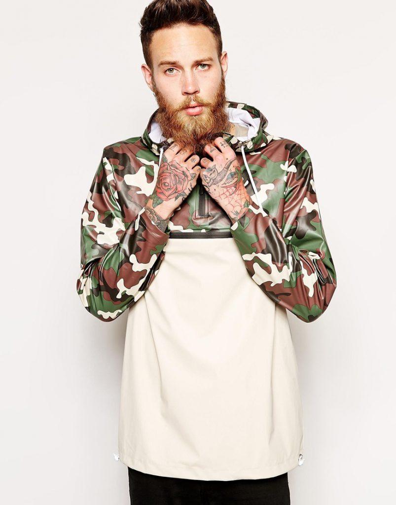 Бежево-камуфляжный мужской анорак