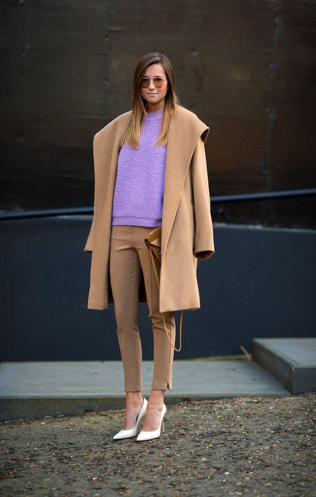 Бежевый и лиловый цвета в одежде