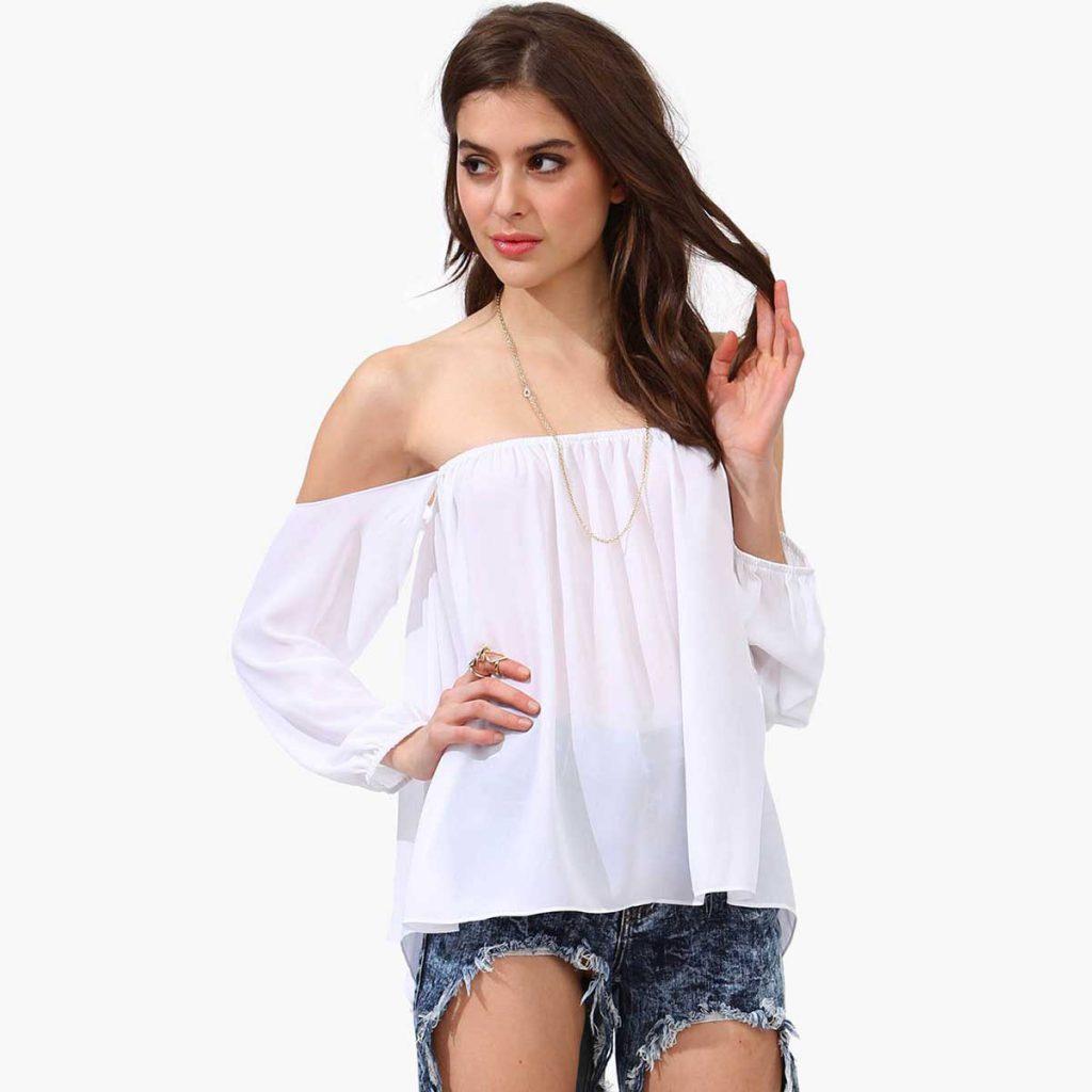 Белая прозрачная блузка с открытыми плечами