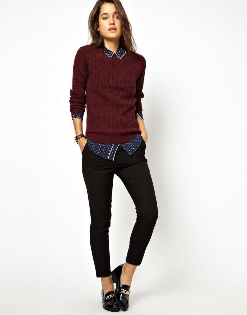 Сочетание бордового и черного цветов в одежде