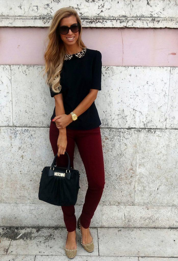 Сочетание бордового и черного цветов в женском образе