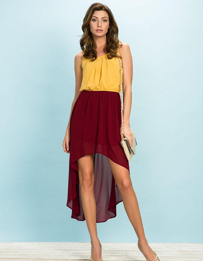Сочетание бордового и желтого цветов в одежде