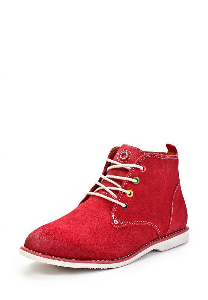 Красные женские замшевые ботинки