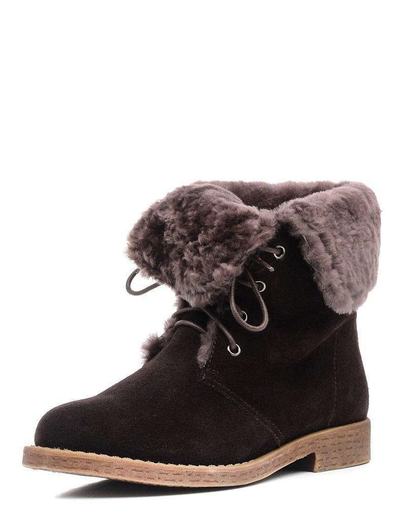 Темно-коричневые женские замшевые ботинки
