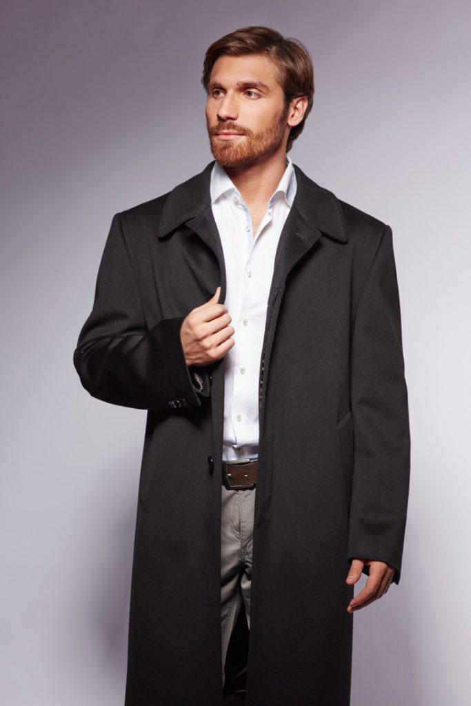 Длинное мужское черное пальто