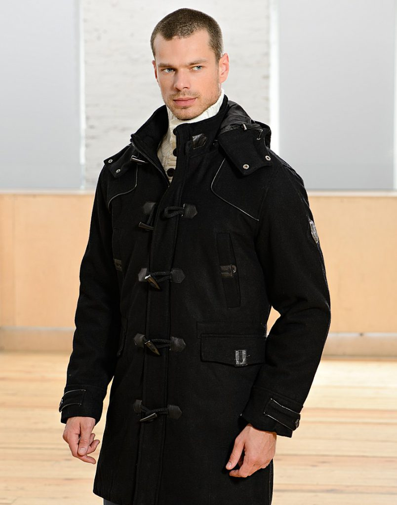 Модное повседневное мужское черное пальто