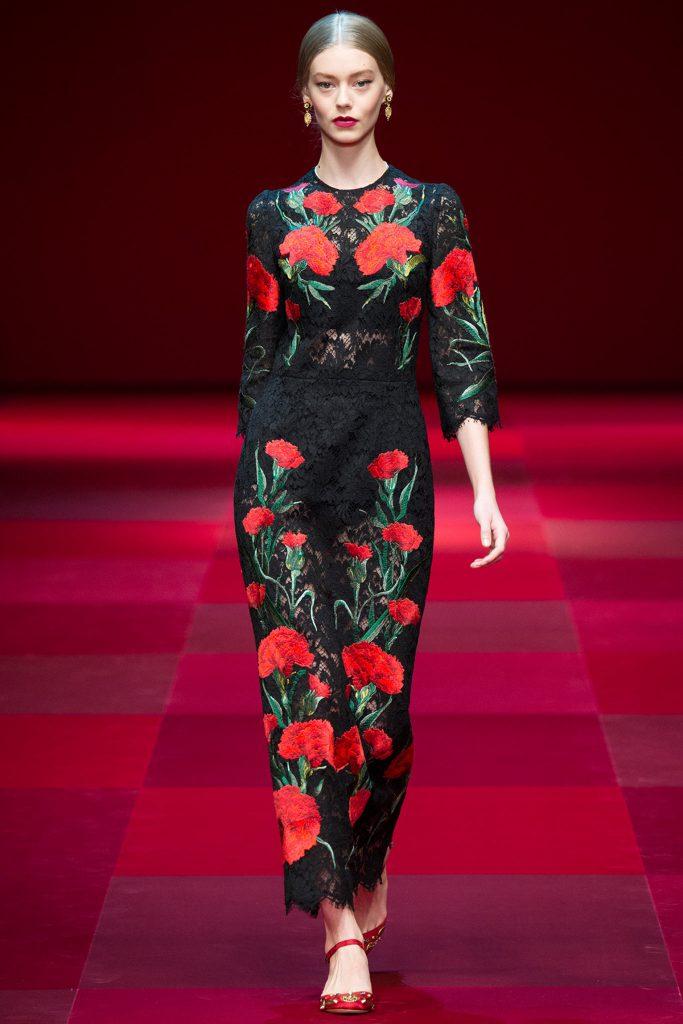 Черно-красное модное платье