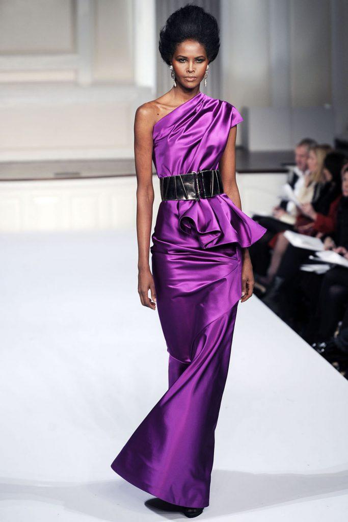 Вечернее длинное фиолетовое платье