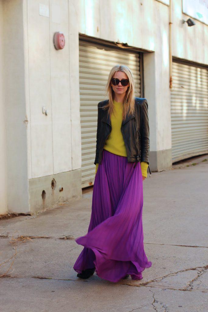 Фиолетовый, желтый и черный цвета в одежде