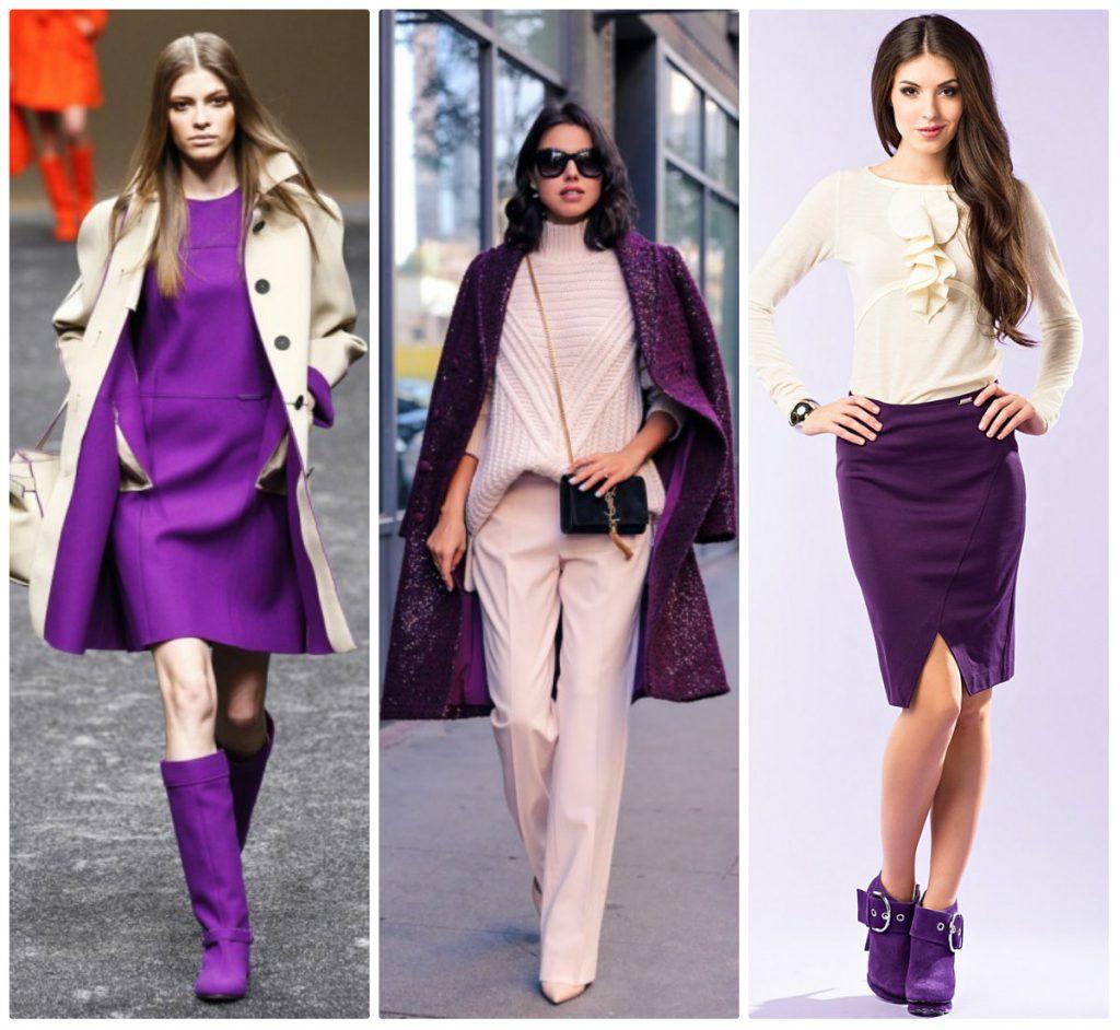 Фиолетовый с пастельными цветами в одежде