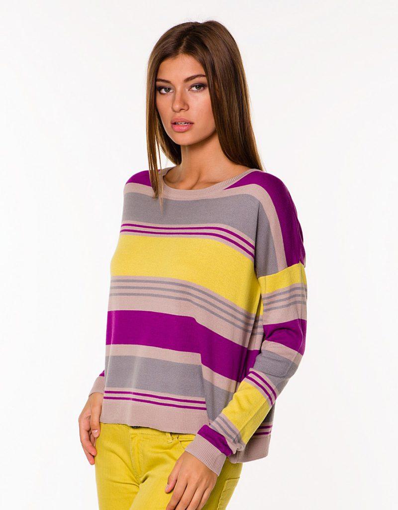 Фиолетово-желтая кофта