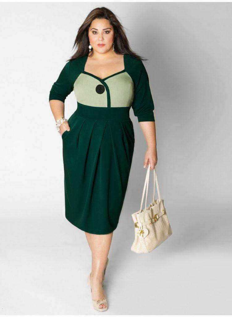 Зелено-салатовое платье для полных девушек
