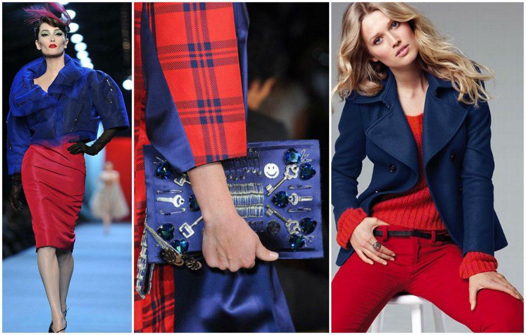 Красный и синий цвета в одежде