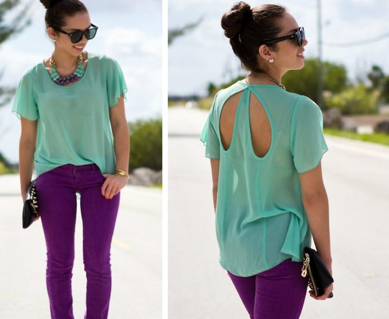 Мятный и фиолетовый цвета в одежде