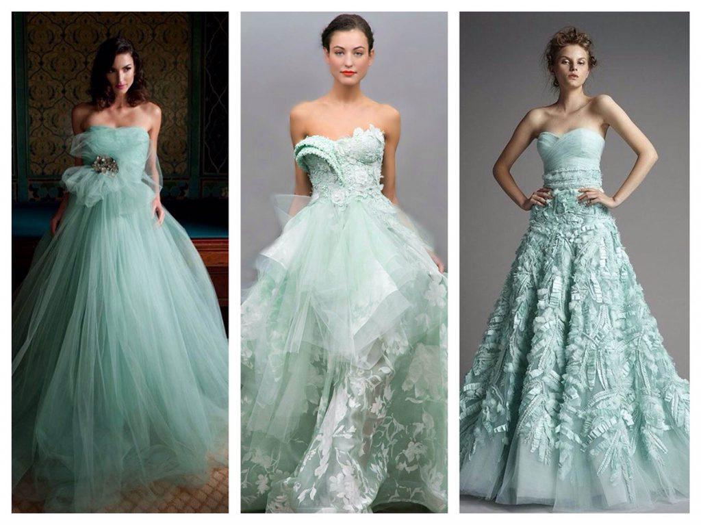 Мятные вечерние платья