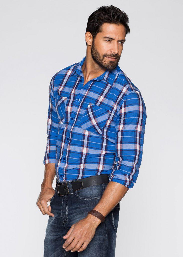 Мужская рубашка в крупную клетку