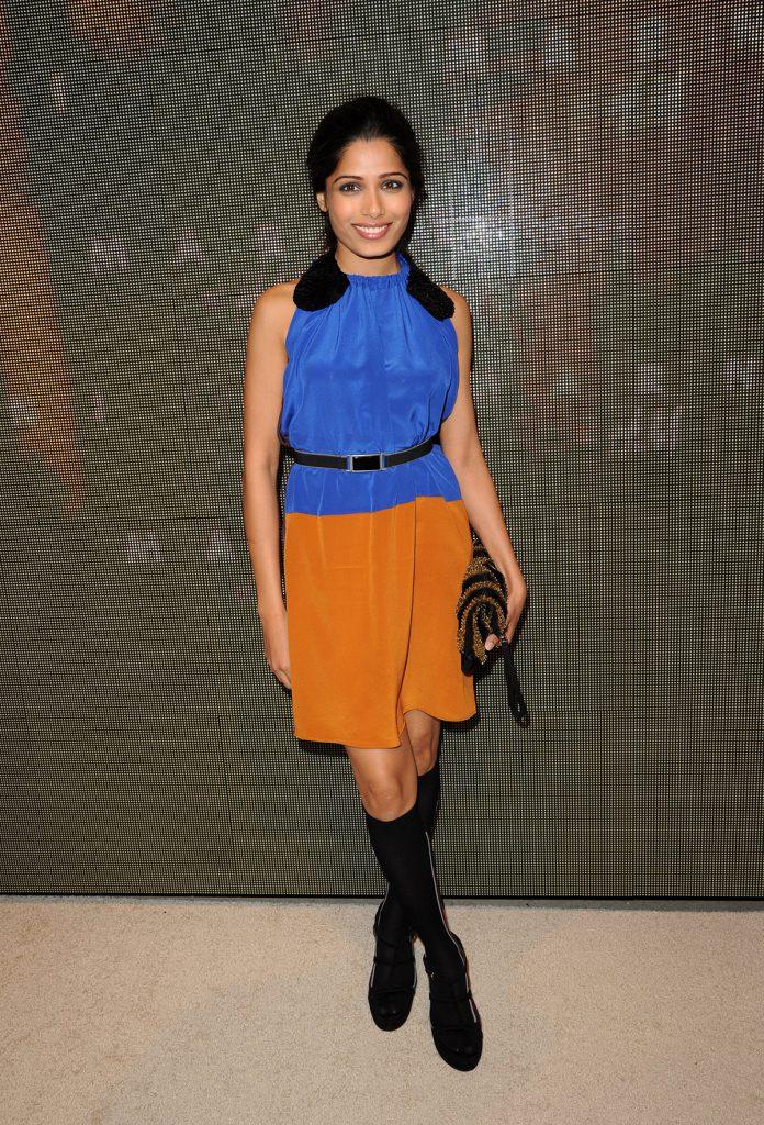 Оранжево-синее платье