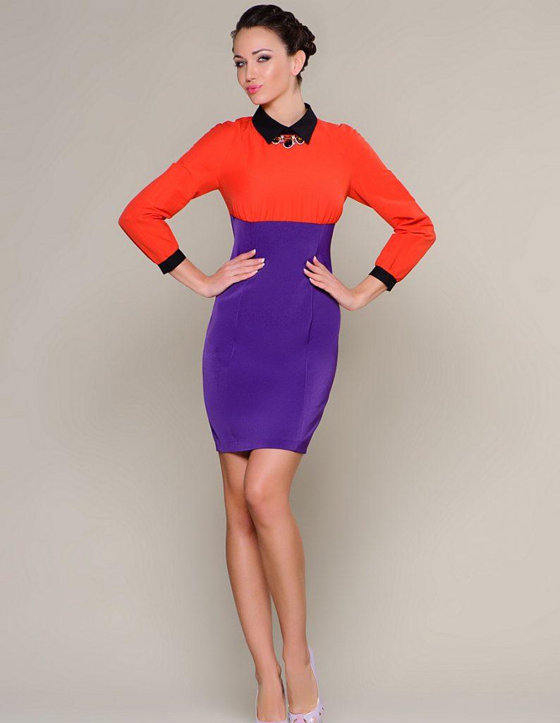 Оранжево-фиолетовое платье