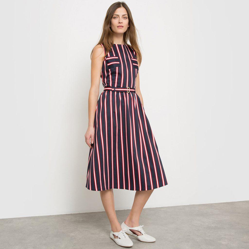 Платье в вертикальную полоску