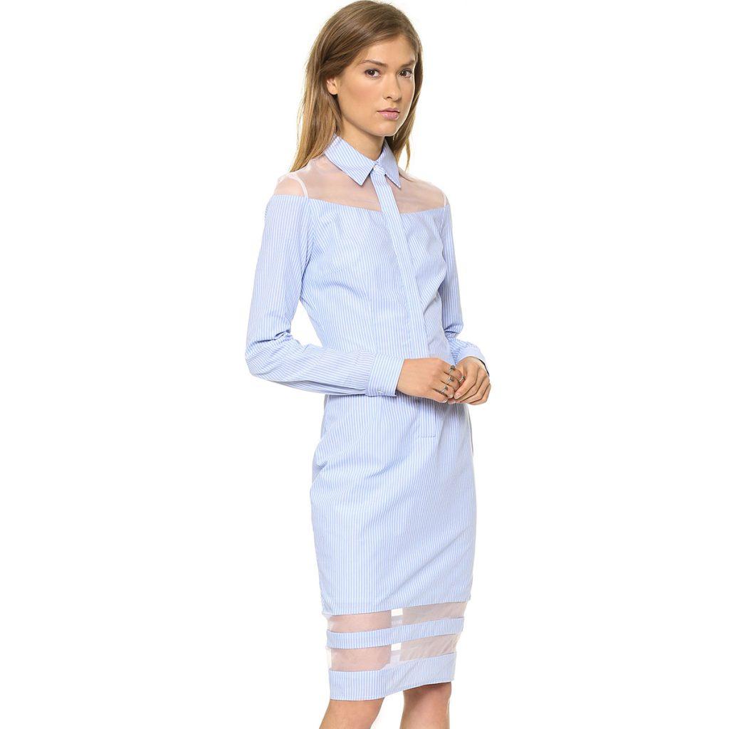 Полосатое платье-рубашка из двух видов ткани