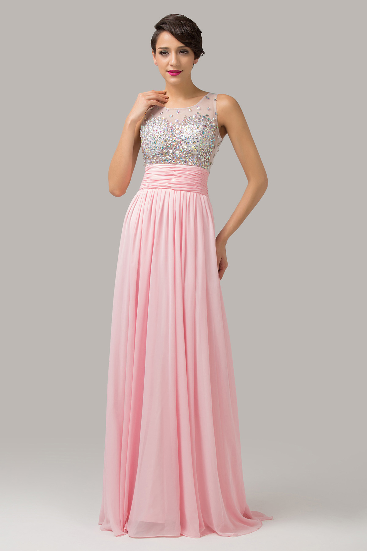 Платье на выпускной розовое в пол